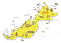 旅行のイメージアイテムと地図