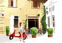 カフェの前でバイクに寄りかかる女の子