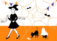 お化けの扮装をしたネコとハロウィンパーティー 02463001711| 写真素材・ストックフォト・画像・イラスト素材|アマナイメージズ