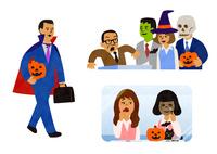 ハロウィンの仮装をするビジネスマン