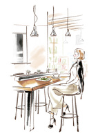 カフェで休憩をする女性