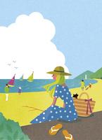 海辺でくつろぐ女性 02463001725| 写真素材・ストックフォト・画像・イラスト素材|アマナイメージズ