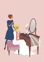 鏡の前で準備する花嫁