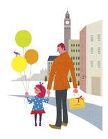 買い物をする父親と娘