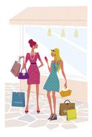 買い物を楽しむ二人の女性