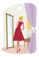 鏡の前に立つ赤ワンピースの女性