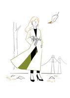 落ち葉と女性 02463001739| 写真素材・ストックフォト・画像・イラスト素材|アマナイメージズ