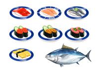 お皿に乗った寿司ネタ