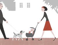 赤ちゃんの散歩と犬の散歩