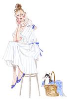椅子に座る女性と猫 02463001760| 写真素材・ストックフォト・画像・イラスト素材|アマナイメージズ