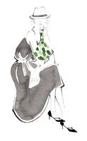 小さなカバンを手に座る女性 02463001762| 写真素材・ストックフォト・画像・イラスト素材|アマナイメージズ