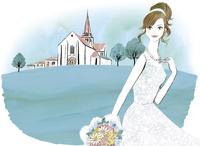 教会と花嫁 02463001767| 写真素材・ストックフォト・画像・イラスト素材|アマナイメージズ