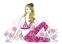 バラと横座りの女性 02463001771| 写真素材・ストックフォト・画像・イラスト素材|アマナイメージズ