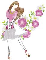 花と横向きの女性