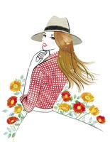 花と帽子をかぶって振り向いた女性 02463001775| 写真素材・ストックフォト・画像・イラスト素材|アマナイメージズ