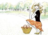 四葉のクローバーと公園と女性 02463001779| 写真素材・ストックフォト・画像・イラスト素材|アマナイメージズ