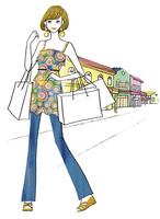 ショッピングバックを持った女性 02463001785| 写真素材・ストックフォト・画像・イラスト素材|アマナイメージズ