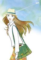 飛行機雲と帽子をかぶった女性