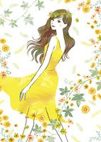 花に囲まれた女性 02463001809| 写真素材・ストックフォト・画像・イラスト素材|アマナイメージズ