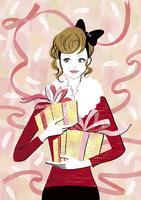プレゼントとリボンの女性