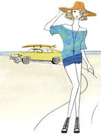 ビーチと車と女性 02463001811| 写真素材・ストックフォト・画像・イラスト素材|アマナイメージズ