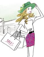 ショッピングセールを楽しむ女性 02463001816| 写真素材・ストックフォト・画像・イラスト素材|アマナイメージズ