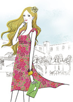リゾート地を楽しむ女性 02463001817| 写真素材・ストックフォト・画像・イラスト素材|アマナイメージズ