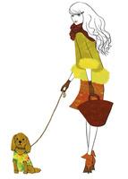 犬と散歩する女性 02463001821| 写真素材・ストックフォト・画像・イラスト素材|アマナイメージズ