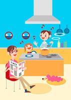 キッチンで料理する母娘と傍らで新聞を読む父