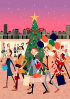 クリスマスの街と人々 02464000038| 写真素材・ストックフォト・画像・イラスト素材|アマナイメージズ