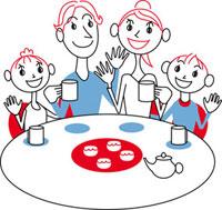 食卓を囲むファミリー