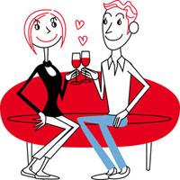 ソファーで乾杯する男女