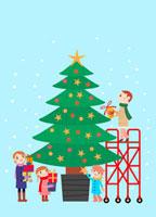 クリスマスツリーとファミリー