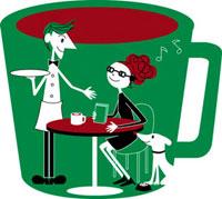カフェでくつろぐ女性とギャルソン