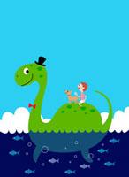 恐竜と子供 02464000064| 写真素材・ストックフォト・画像・イラスト素材|アマナイメージズ