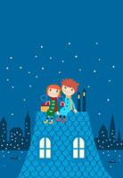 夜空と屋根の上の少年少女 02464000071| 写真素材・ストックフォト・画像・イラスト素材|アマナイメージズ