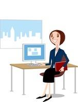 パソコンと女性(ビジネス)