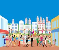 街とにぎわう人々 02464000093| 写真素材・ストックフォト・画像・イラスト素材|アマナイメージズ