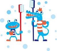 歯磨きするカエルとワニ