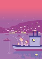 夕暮れの港、釣りをする親子