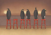 バーのカウンターに並ぶ5匹のペンギン