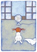 扇風機で涼む少女