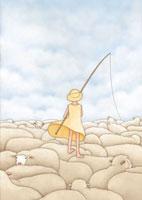 羊の群れの上に立つ少女