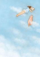 空に寝転がって読書をする少女と寄り添う豚