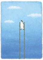 竹馬に乗るペンギン