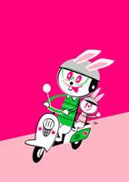 スクーターに乗ったウサギの親子