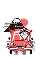 富士山の初日の出とドライブする舞子さん 02468000004| 写真素材・ストックフォト・画像・イラスト素材|アマナイメージズ