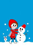 雪だるまを作る女の子 02468000005| 写真素材・ストックフォト・画像・イラスト素材|アマナイメージズ