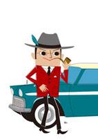 パイプをくわえた紳士と車