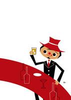 バーカウンターでウイスキーを飲む男性 02468000014| 写真素材・ストックフォト・画像・イラスト素材|アマナイメージズ